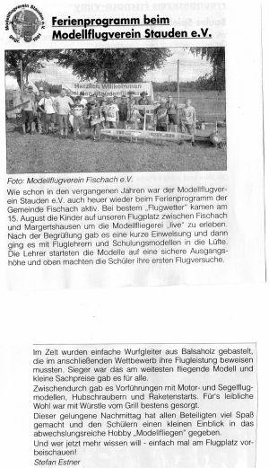 Artikel erschienen im Staudenbote zum Ferienprogramm 2018