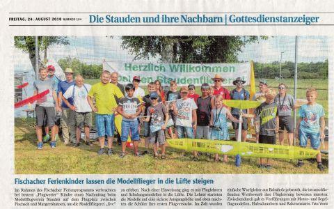 Zeitungsartikel zum Ferienprogramm 2018